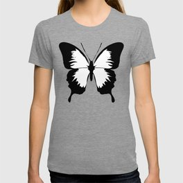 Butterfly, Black and White Butterfly. T-shirt