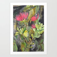 'Iwi'i and Maui 'Alauhio in Red Ohia Lehua Tree Art Print
