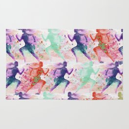 Watercolor women runner pattern with red mint and dark purple Rug