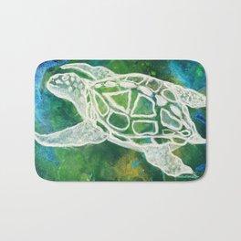 Cosmic Emerald Turtle Guardian Bath Mat