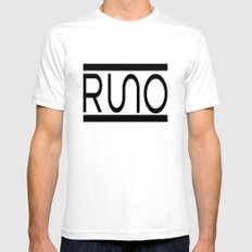 Rue Nothing RUNO Logo Bordered White SMALL Mens Fitted Tee