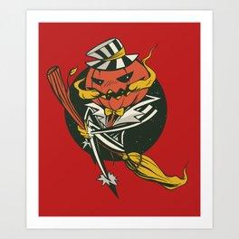 Pumpkin Broom Halloween Art Print