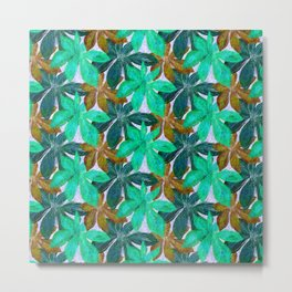 Rainy Jungle Leaves Metal Print