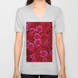 NATURE ART OF BED OF RED & PINK ROSE FLOWERS Unisex V-Neck