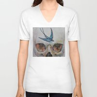 sparrow V-neck T-shirts featuring Sparrow by Michael Creese