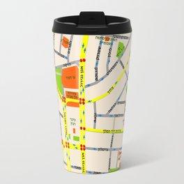 Tel Aviv map design - written in Hebrew Travel Mug