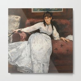 The Rest, portrait of Berthe Morisot by Edouard Manet Metal Print