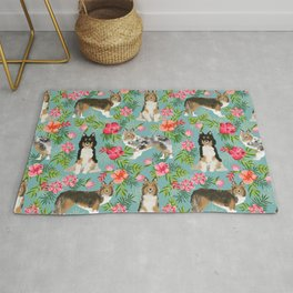 Sheltie shetland sheepdog hawaii floral hibiscus flowers pattern dog breed pet friendly Rug