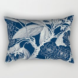Floral, Roses, Vintage Print, Navy Blue Rectangular Pillow