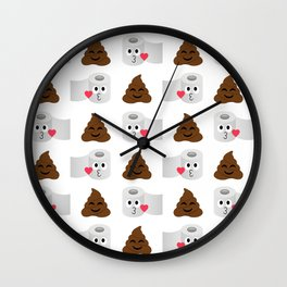Poop and toilet tissue couple Wall Clock