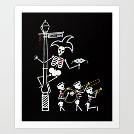 Pirate's Alley Jester and Marching Band Art Print