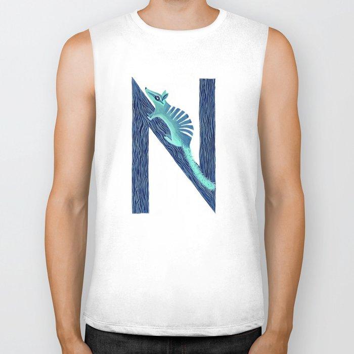 N is for Numbat Letter Alphabet Decor Design Art Pattern Biker Tank