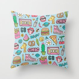 90's Vintage Patches Stickers Doodle on Blue Throw Pillow