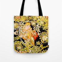 mucha Tote Bags featuring Marguerite's Bower, Mucha by Vintage Era Art