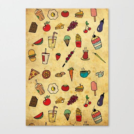 Food Love Pattern Canvas Print