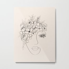 Female Floral Face Line Art Metal Print