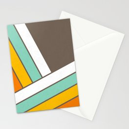Retro 70s Stripes  -  Abstract Geometric Design Stationery Cards