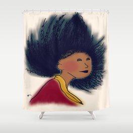 black hair flip Shower Curtain