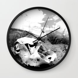 Desert Skull in Black and White Photography Wall Clock