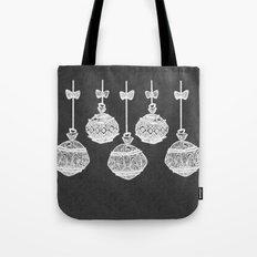 Retro Christmas Ornaments Chalkboard Tote Bag