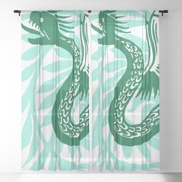 "William De Morgan ""Winged snake"" 2. Sheer Curtain"