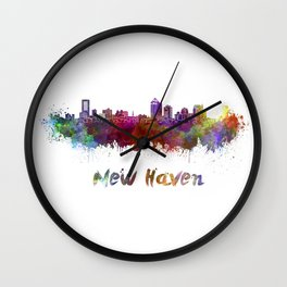 New Haven skyline in watercolor Wall Clock
