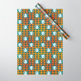 Faces: SciFi lady on a teal and orange pattern background Wrapping Paper