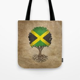 Vintage Tree of Life with Flag of Jamaica Tote Bag