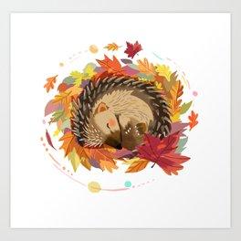 Hedgehog in Autumn Leaves Art Print