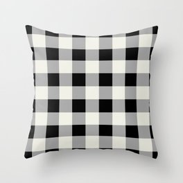 Black and Ivory Buffalo Check - more colors Throw Pillow