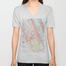 Vintage Map of Daytona Beach Florida (1952) Unisex V-Neck