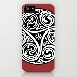 Celtic Art - Triskele - on Red iPhone Case