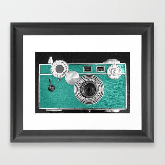 Teal retro vintage phone Framed Art Print