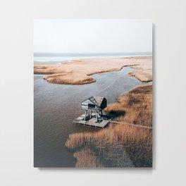 Kiekkaaste, Groningen, The Netherlands. Architecture to spot birds on flatland. Drone photography Metal Print