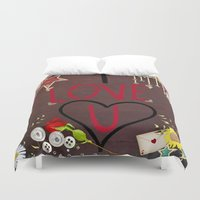 murakami Duvet Covers featuring I love you saying on wooden background by Marcy Murakami