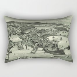 Vintage Pictorial Map of Woods Hole Falmouth MA (1887) Rectangular Pillow