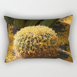 Barrel Cactus Covered In Butter Yellow Palo Brea Blossoms in Landscape Rectangular Pillow