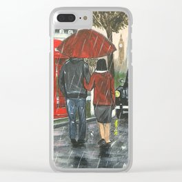 Catching a Cab in the Rain Clear iPhone Case