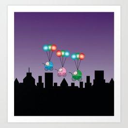 Baby Buggies on Balloons Art Print