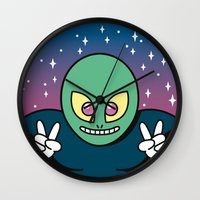 invader zim Wall Clocks featuring Invader by Eliseo Diaz