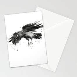 Raven Watercolor Stationery Cards