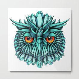 Crystal Owl Blue Metal Print