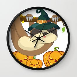 Funny Witch Sloth With Jack O Lantern Halloween T-Shirt Wall Clock