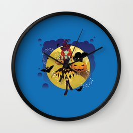 Red haired green witch flying Wall Clock
