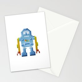 Blue pixel robot #1 Stationery Cards