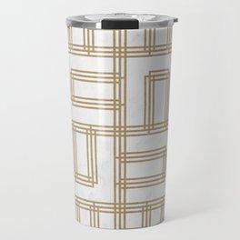 Golden Deco Lines Pattern Travel Mug