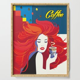"""Beautiful Fashion Woman and Coffee Cup"" POP-ART poster, Retro, Design Serving Tray"