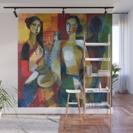 Women in Colorful Sunday Afternoon Gowns Washing Post portrait painting by R. Segar Wall Mural