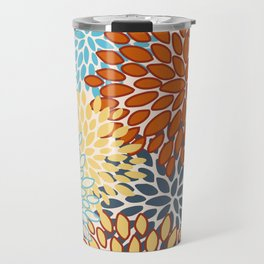 Colorful Bright Floral Pattern Abstract Travel Mug