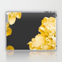 Yellow Flowers On A Dark Background #decor #society #homedecor Laptop & iPad Skin